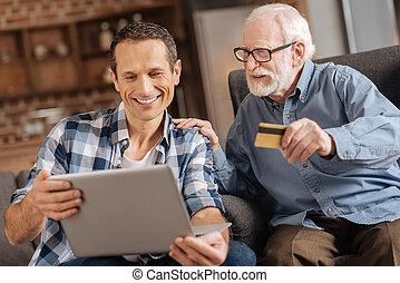 bevásárlás, odaad, öregedő, fiú, kártya, online, part, ember