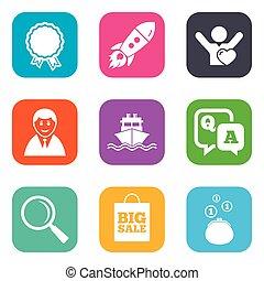 bevásárlás, online, icons., ügy, e-commerce