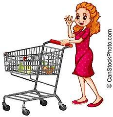bevásárlás, rámenős, kordé, háttér, fehér, nő