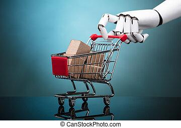 bevásárlás, robot, kordé, dobozok, birtok, kartonpapír