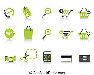 bevásárlás, sorozat, zöld, ikon