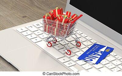 bevásárlás, tehetség, kordé, laptop