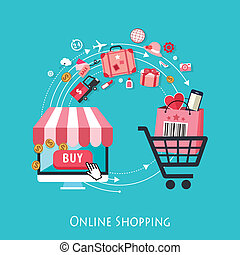 bevásárlás, tervezés, online, lakás, fogalom
