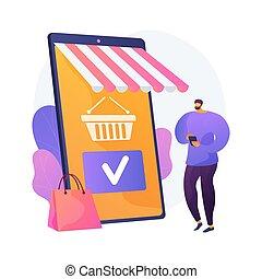 bevásárlás, vektor, metaphor., app, mozgatható, fogalom