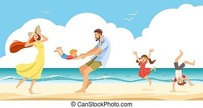 bevétel, jó, family., összeköttetés, maradék, vektor, homokos, jókedvű, tengerpart, illustration., család, seaside.