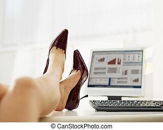 bevétel, nő, el, cipők, ügy