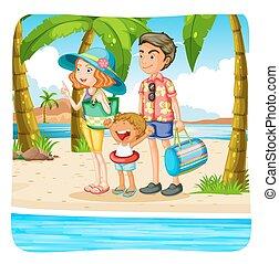 bevétel, tengerpart szünidő, család