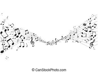 bever, hangjegy, vektor, zene, különféle