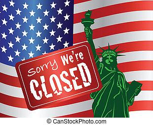 bezárás, szobor, szabadság, kormány