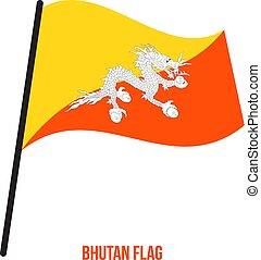 bhutan, flag., nemzeti, ábra, hullámzás, háttér., lobogó, vektor, fehér