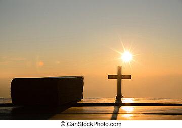 biblia, árnykép, krisztus, kereszt, jézus, concept:, hegy, háttér, feltámadás, napkelte
