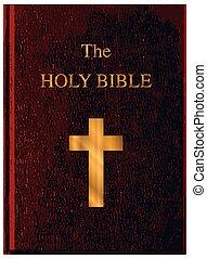 biblia, fedő, piros, jámbor