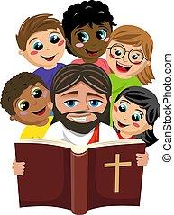 biblia, gyerekek, krisztus, körülvevő, fehér, felolvasás, boldog, csoport, jézus, jámbor, multicultural, elszigetelt, könyv