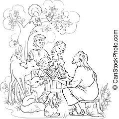 biblia, jézus, fekete, fehér, felolvasás, gyerekek, animals.