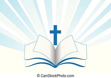 biblia, jelkép, kereszt, vallás, könyv, jel