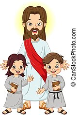 biblia, könyv, jesus christ, gyerekek, jámbor