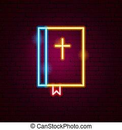 biblia, neonreklám