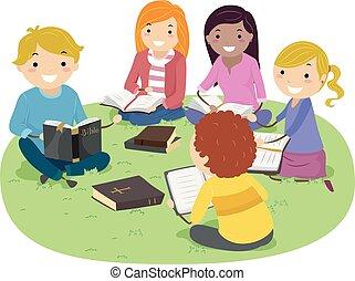 biblia, stickman, tanul, ábra, szabadban, tizenéves kor