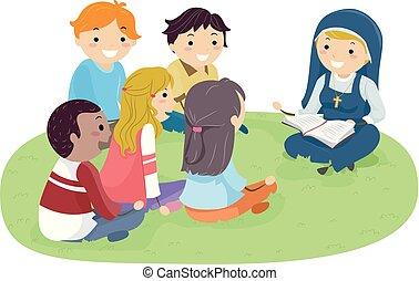 biblia, stickman, tanul, apáca, szabadban, tizenéves kor