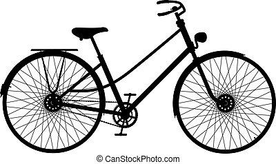 bicikli, árnykép, retro