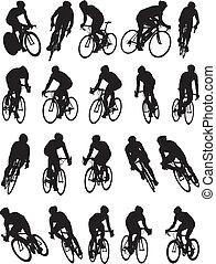 bicikli, árnykép, versenyzés, részletez, 20