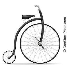 bicikli, öreg, szüret, ábra, vektor, retro, részvény, ikon