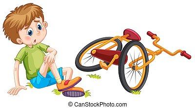 bicikli, bukott, fiú, el