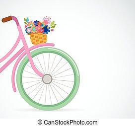 bicikli, csinos, poszter, kártya, köszönés, kosár, menstruáció, húsvét, boldog