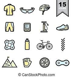 bicikli, egyenes, ikonok, állhatatos