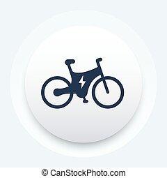 bicikli, elektromos, ikon, bicikli, integrált, motor