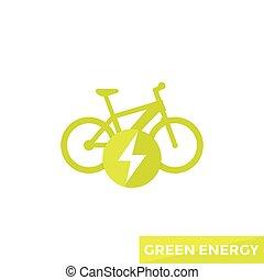bicikli, elektromos, ikon, e-bike