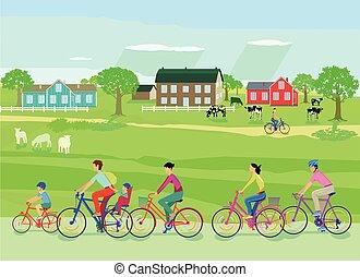 bicikli, elgáncsol, család