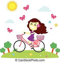 bicikli elnyomott, leány, élvez
