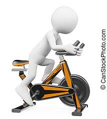 bicikli, ember, emberek., fonás, 3, fehér