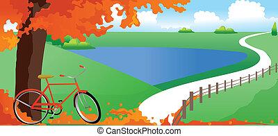 bicikli, fa, alatt