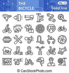 bicikli, fehér, cégtábla, háló, egyenes, ikon, alkatrészek, háttér., állhatatos, grafika, mód, vagy, lineáris, gyűjtés, vektor, app., elszigetelt, bicikli, sketches., segédszervek, jelkép