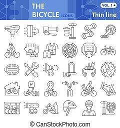 bicikli, fehér, cégtábla, háló, egyenes, ikon, alkatrészek, háttér., állhatatos, grafika, mód, vagy, lineáris, gyűjtés, vektor, app., híg, elszigetelt, bicikli, sketches., segédszervek, jelkép