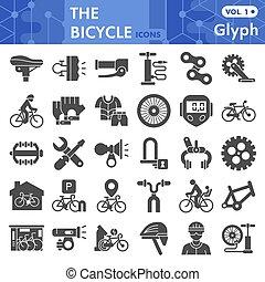 bicikli, fehér, cégtábla, háló, ikon, alkatrészek, háttér., állhatatos, glyph, mód, grafika, vagy, gyűjtés, vektor, app., szilárd, elszigetelt, bicikli, sketches., segédszervek, jelkép