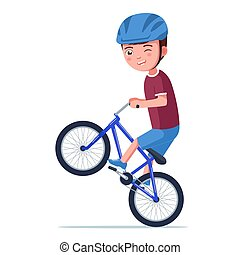 bicikli, fenék, gördülni, gördít, bmx, fiú