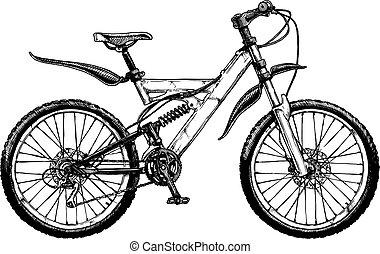 bicikli, hegy, ábra