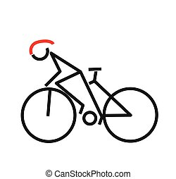 bicikli, illustration., lovagol, jelkép., vektor, tervezés
