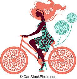 bicikli, leány, árnykép, gyönyörű