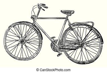 bicikli, rajz, kéz