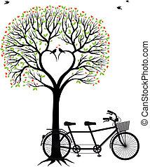 bicikli, szív, fa, madarak