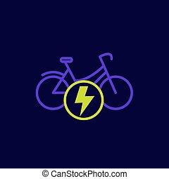 bicikli, vektor, ikon, bicikli, elektromos