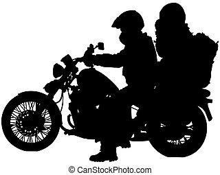 biciklisek, körvonal, motorkerékpár