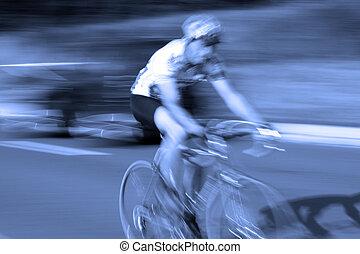 biciklista, bicikli, ast, indítvány, faj, elhomályosít, út