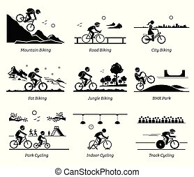 biciklista, különböző, kerékpározás, places., elnyomott bicikli