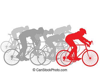 biciklista, nyertes, vezető, háttér