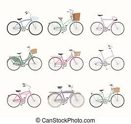 bicycles, állhatatos, retro, háttér, fehér